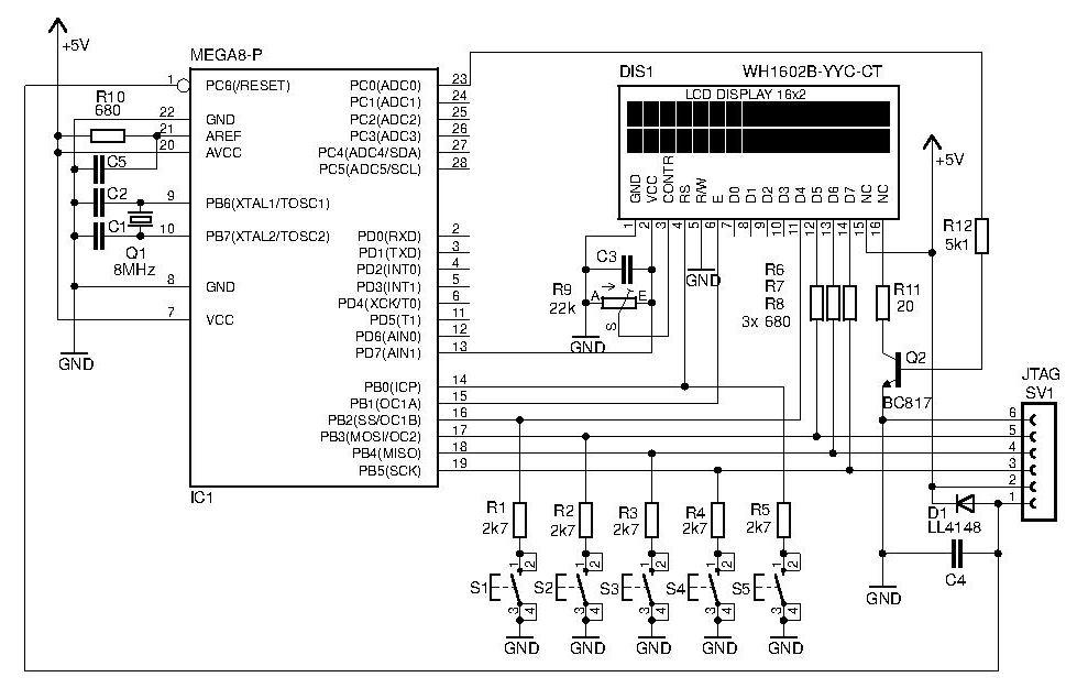bascom - atmega8 - pod��czenie klawiatury do linii wy�wietlacza.