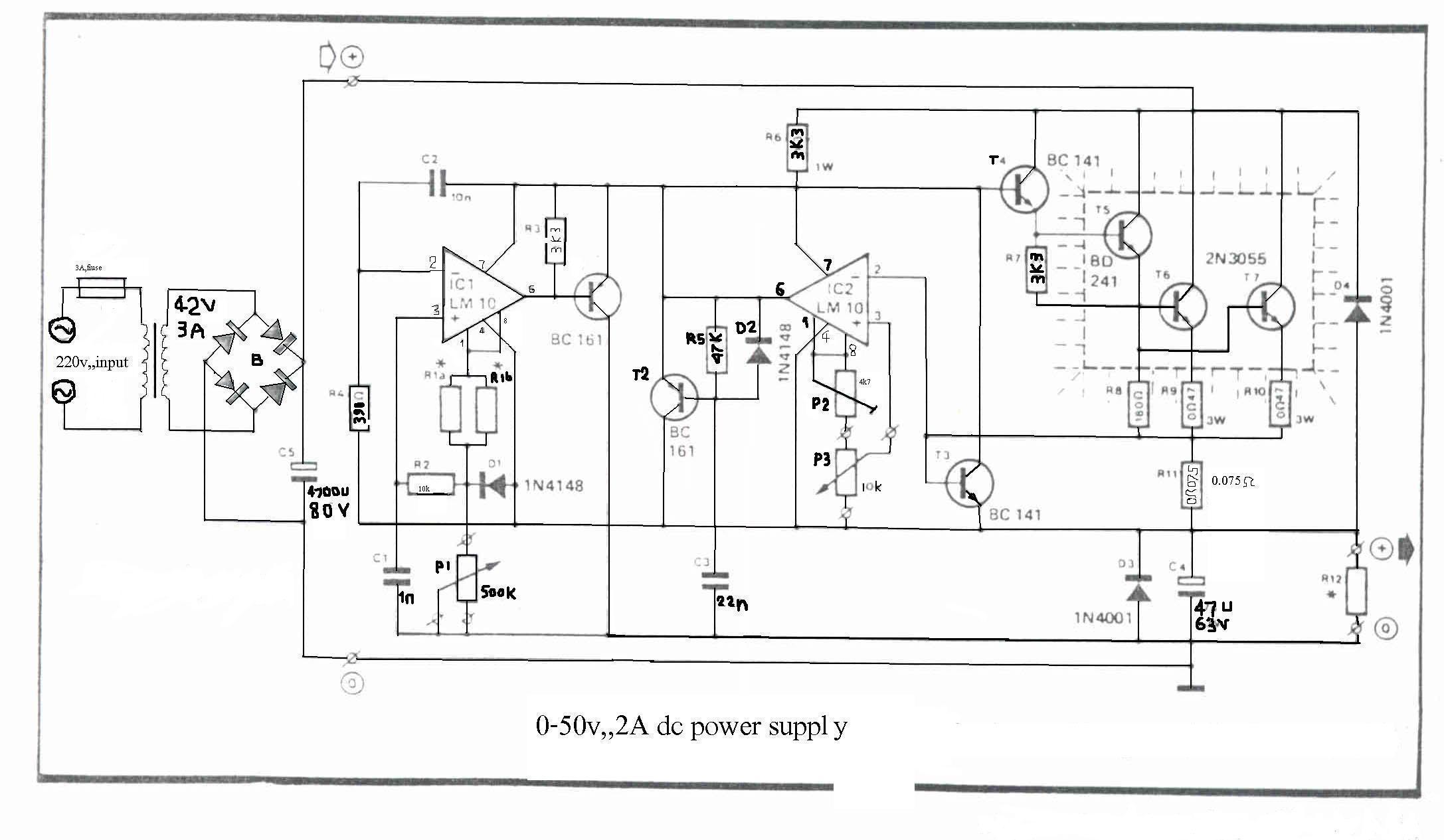 schemat monta�owy - zasilacz stabilizowany 30v/3A albo 50V/2A