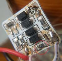 Uszkodzony zasilacz w lampie z diodami LED