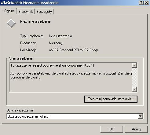 Problem ze sterownikami Realtek ALC655 @ VIA AC'97 Enhanced
