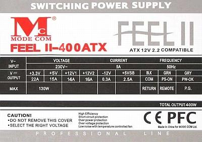 Mode Com model: FEEL III-400ATX zwarcie na +12V z GND