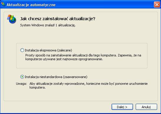 Windows XP - Aktualizajce systemu windows