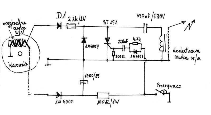Elektroniczny modu� zap�onowy CDI sterowany przerywaczem.