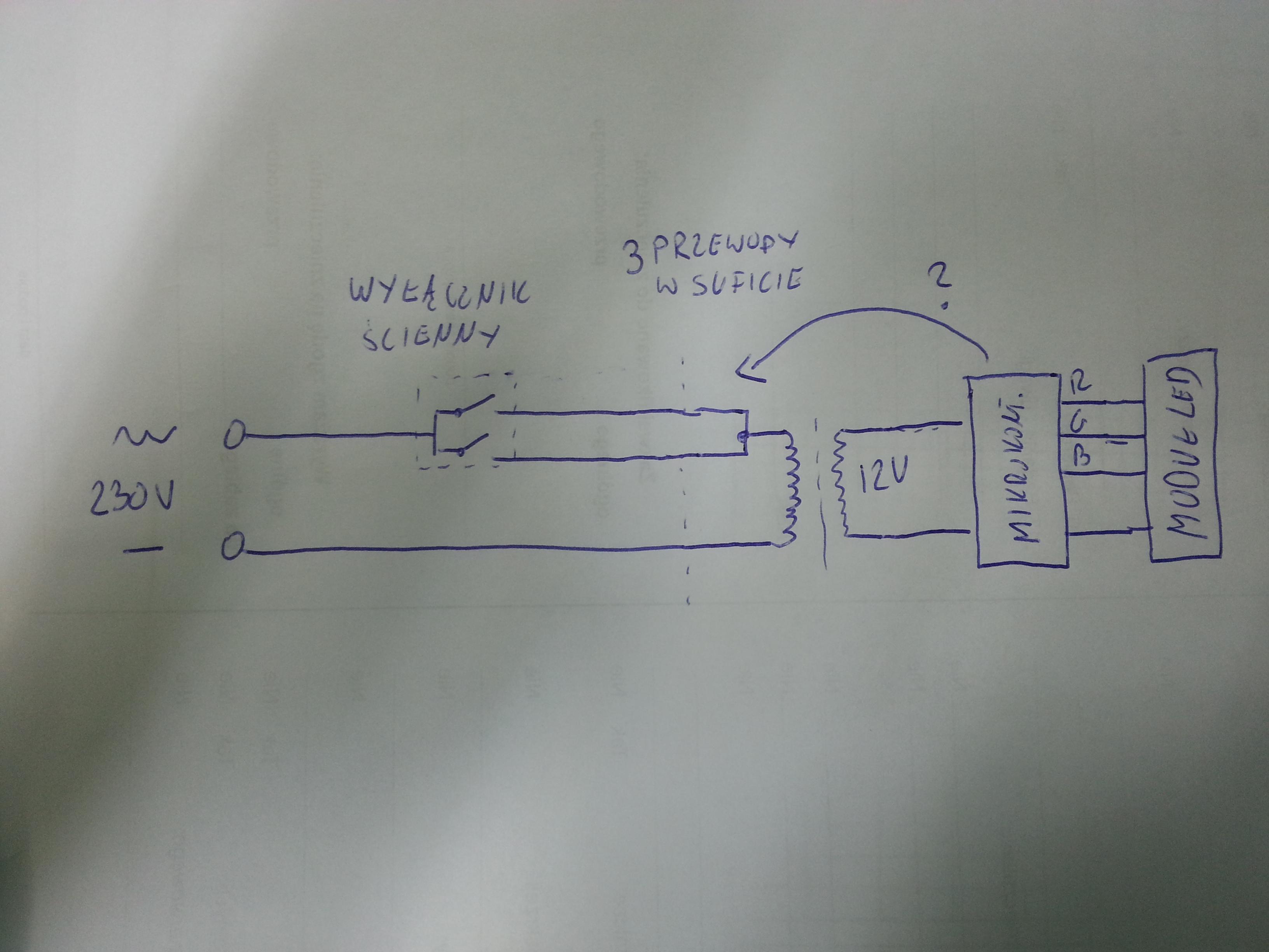 2 wy��czniki 230V i jeden zasilacz 12v. Mikroprocesorowe rozpoznanie w��cznika