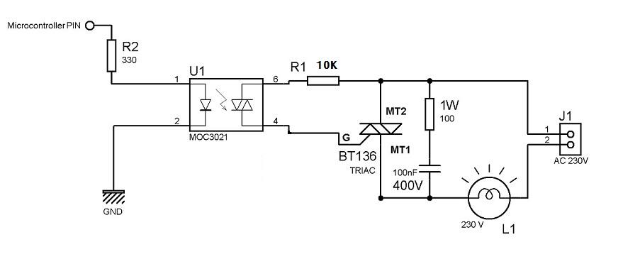 triac  c lighting by microcontroller