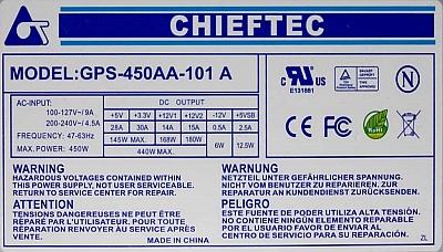 Chieftec model: GPS-450AA-101A - Nietypowe zwarcie...