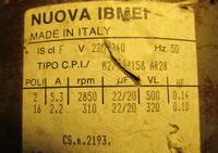 Ardo silnik M2/16/158 - Parametry silnika z tabliczki znamionowej