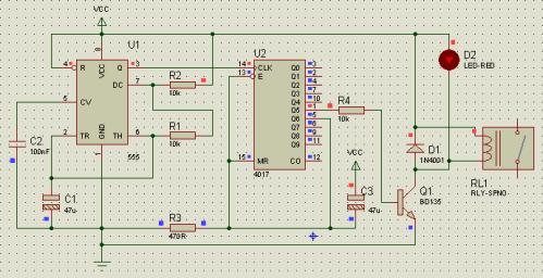 Układ wlączania pompy CO (230V) na 5 min - wykonanie
