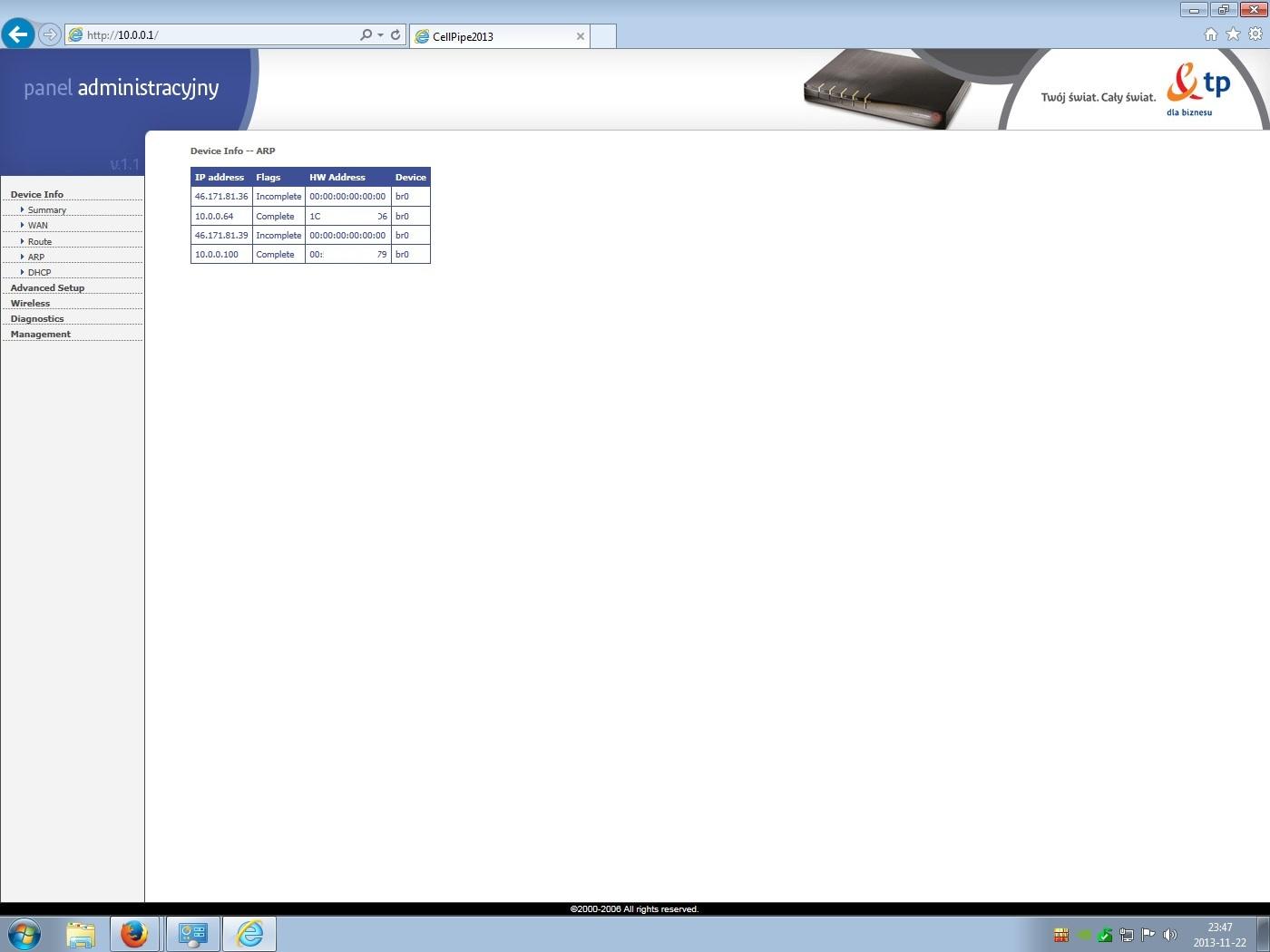 CellPipe 7130 - iDSL i CellPipe 7130 tablica ARP w routerze