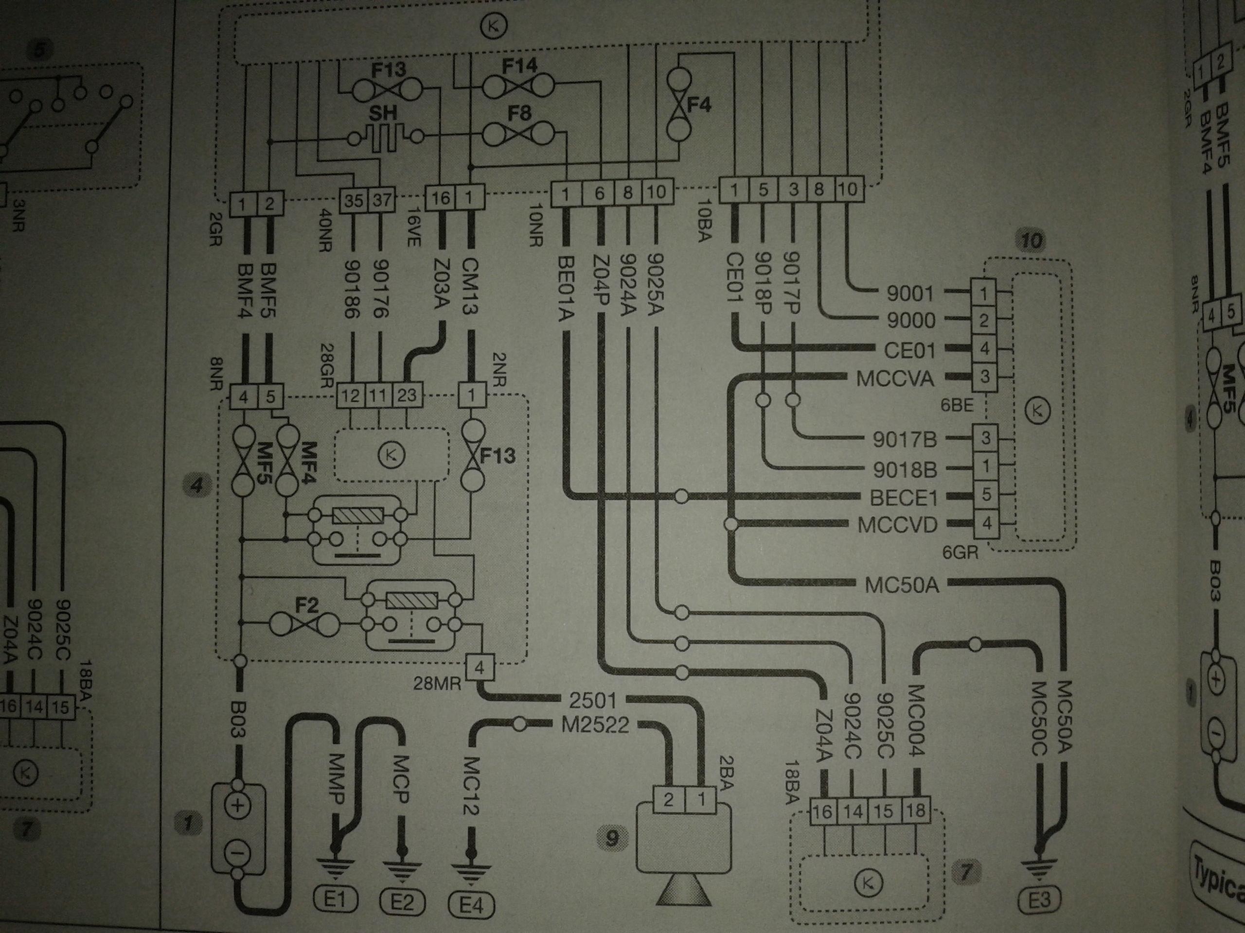 Schemat instalacji elektrycznej sygna�u d�wi�kowego Peuget 207 1,6 HDI