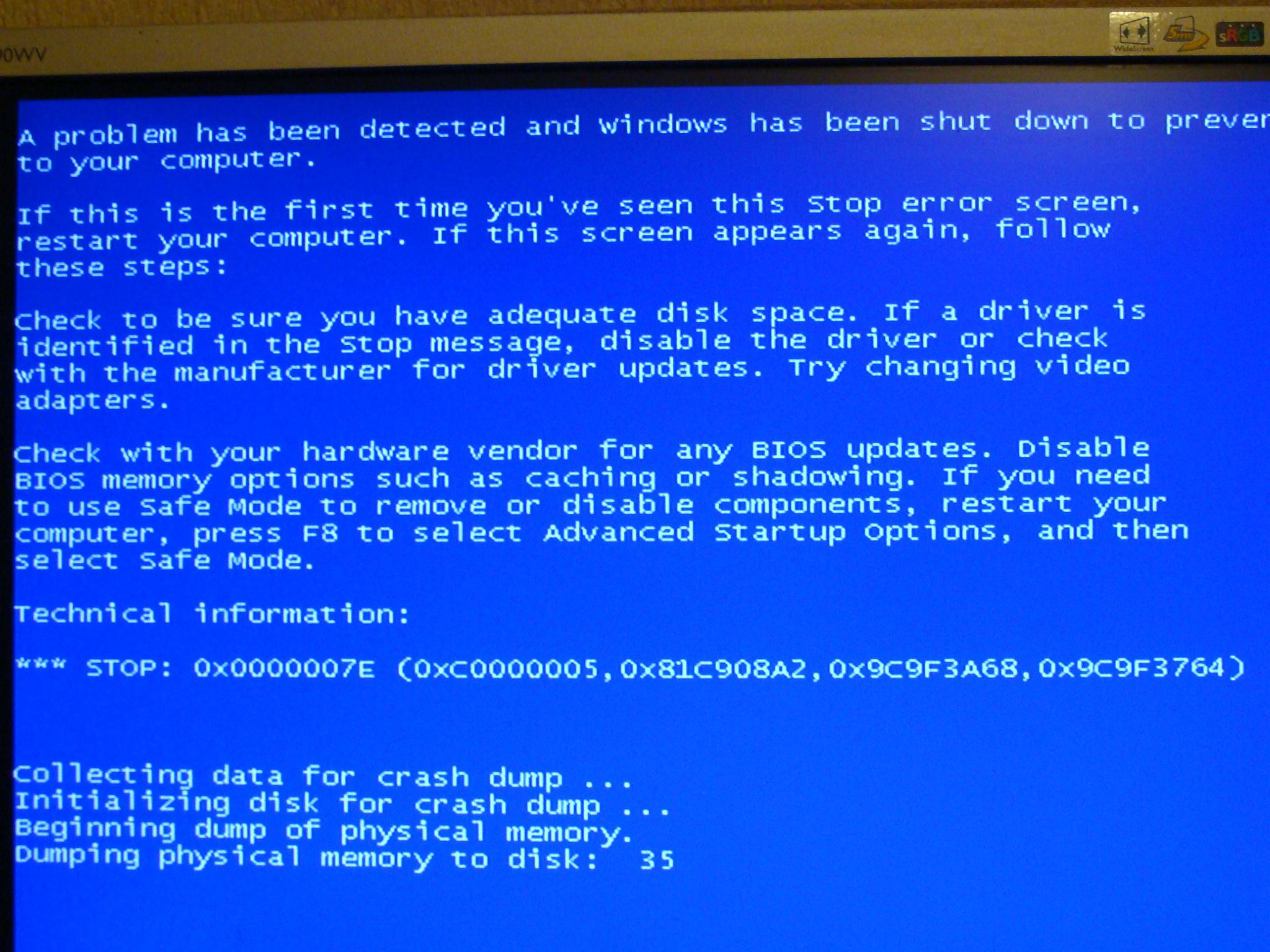 Niebieski ekran w acer aspire 5920g niewiem co robic