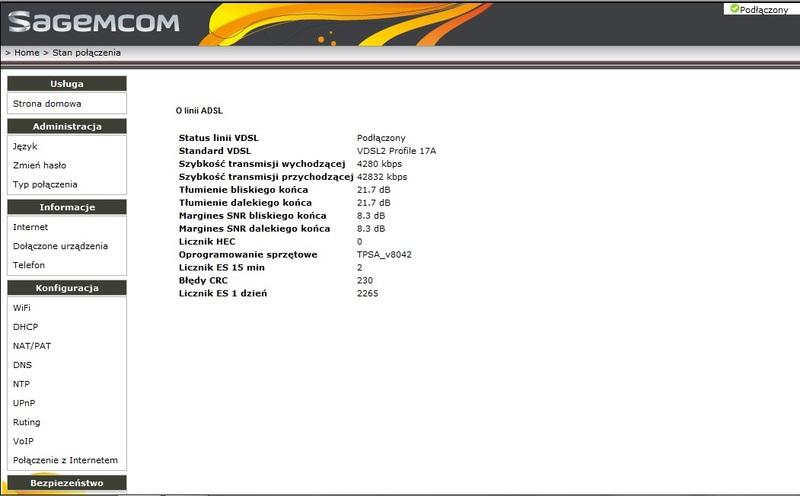 Zrywanie synchronizacji VDSL neostrada Sagemcom f@st 3764