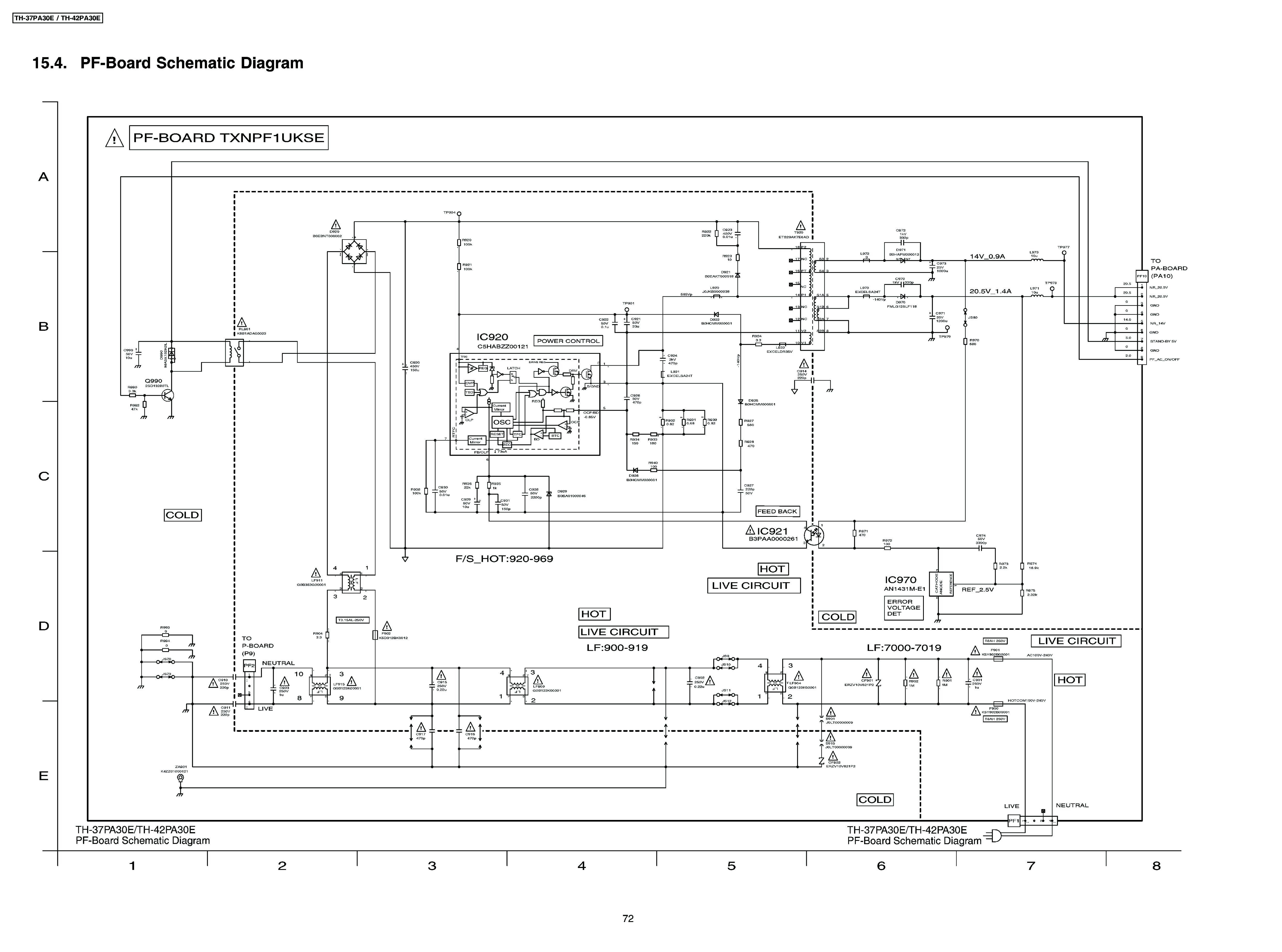 Panasonic TH-42PA30 Plazma Uszkodzony zasilacz PF