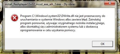 B��d przy instalacji Adobe FlashPlayer i Reader - Z�y obraz + awaria IE