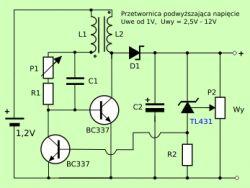 Prosta przetwornica DC/DC z 1,5V / 3V / 3,7V na 9V o wydajności 10-50mA