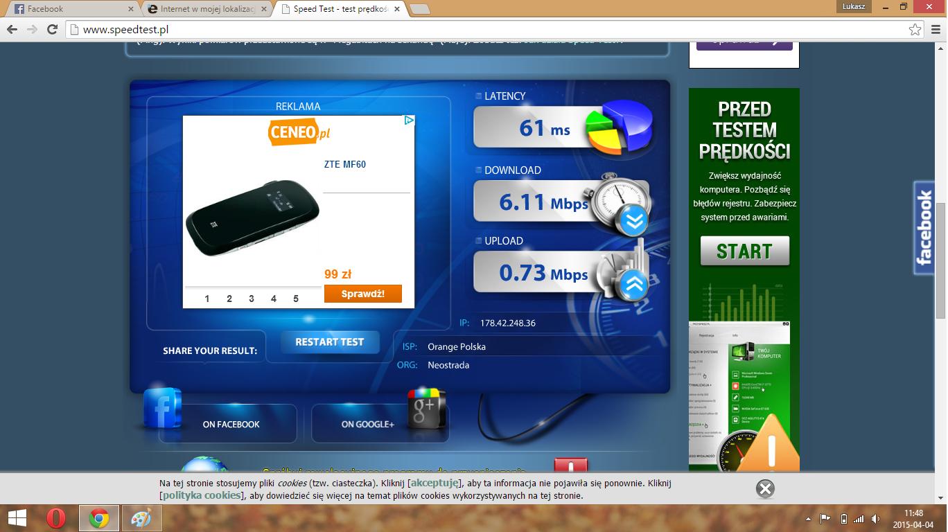 internet kabel speedtest