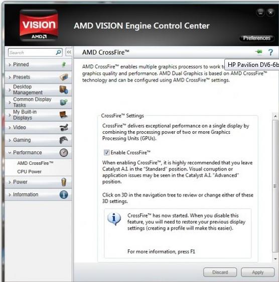 HP Pavilion dv6-6b15ew - Dual Graphics brak opcji włączenia Crossfire