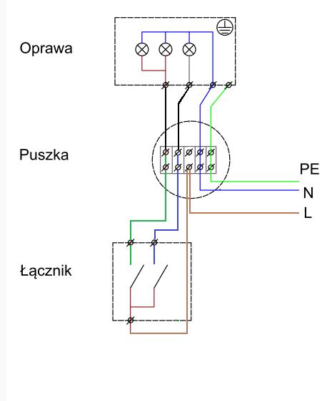 Podłączenie Lampy 3 żarówki 21 Podwójny Włącznik światła