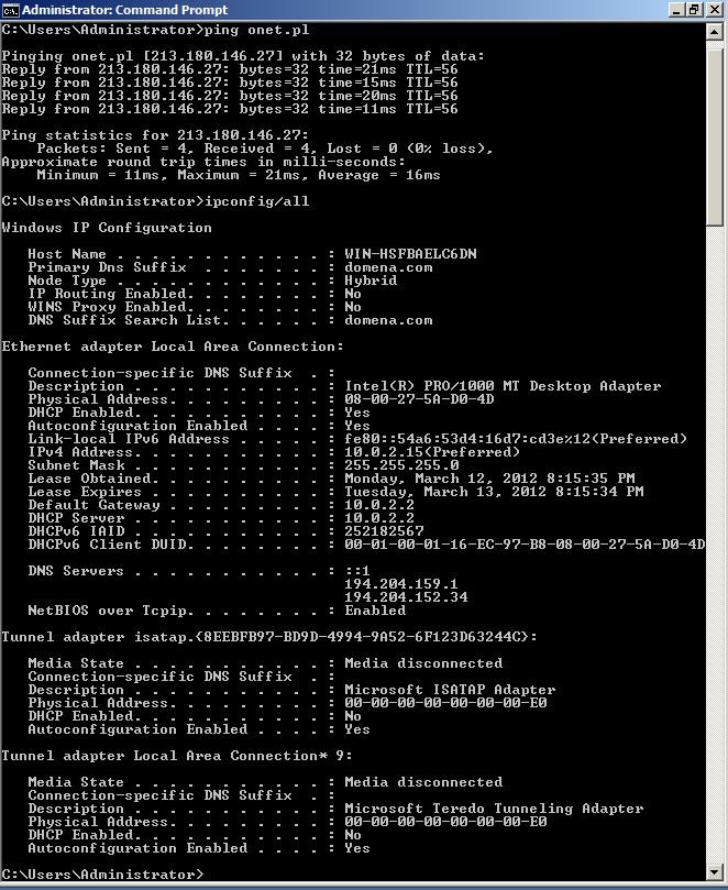 Konfiguracja Serwera DNS I Active Directory
