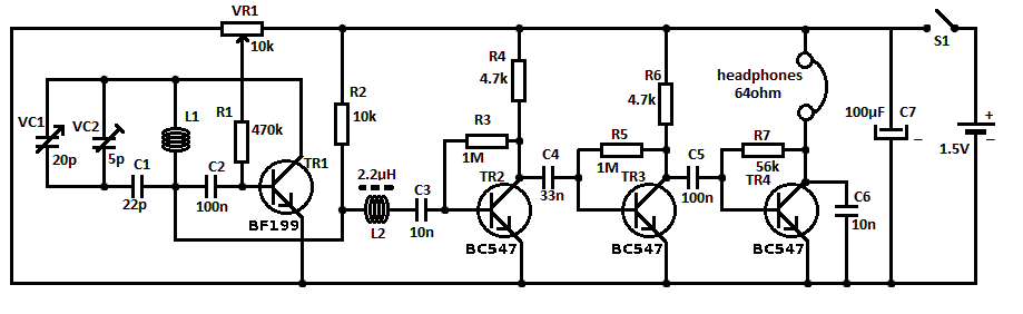 Эта простая схема FM-радио приемник включает в себя стадию регенерации ВЧ, TR1, последующей два этапа усилитель три...