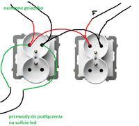 OSPEL-Akcent - Podłączenie gniazd podwójnych do montażu w ramce