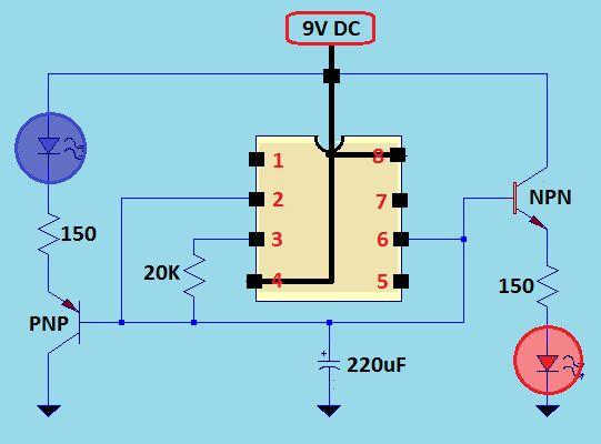 Uk�ad pulsuj�cej diody + power LED