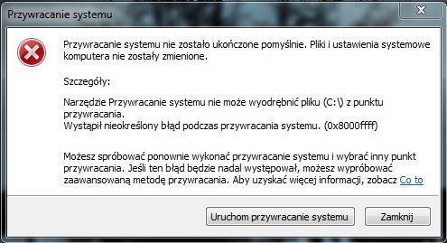 Lenovo G770 - Windows 7 HP 64-bit: nieudane przywracanie systemu