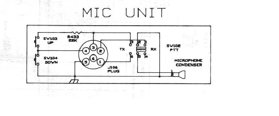 CB Radio Midland Alan 248 XL- schemat wtyczki mikrofonu