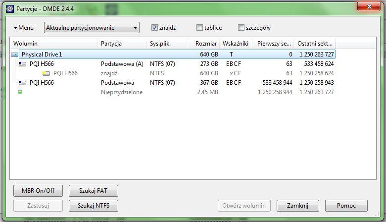 Dysk zewn�trzny - W7 chce formatowa� partycj�
