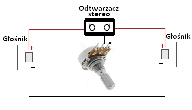 Układ stereo, potencjometr głośności mono.