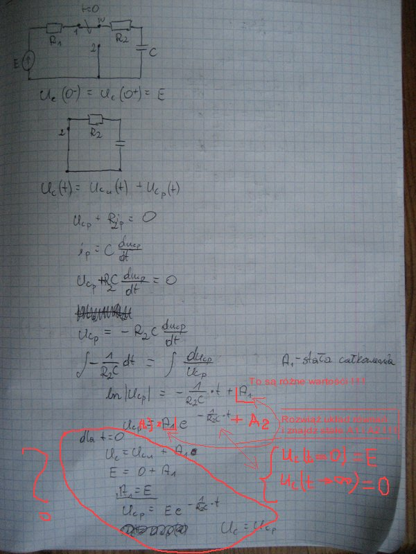 stany nieustalone, metoda klasyczna dla RC, RL