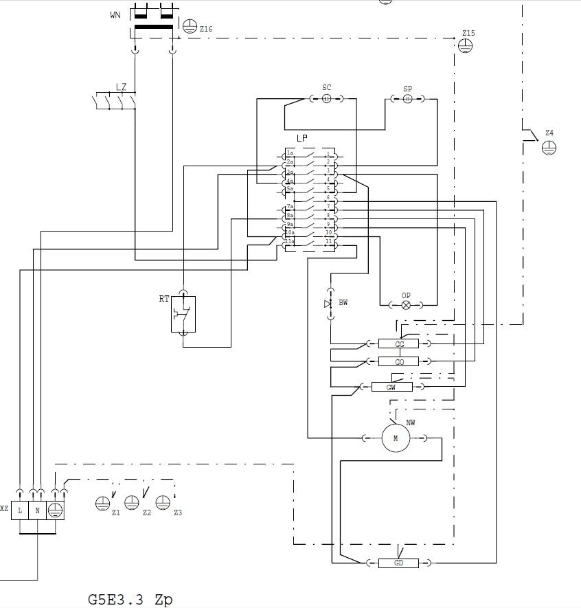 schemat instalacji elektrycznej kuchenki AMICA model G5E 3 32 ZpTaV