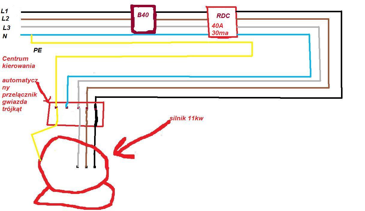 Wy��cznik r�nicowo-pr�dowy wy��cza przy rozruchu silnika.