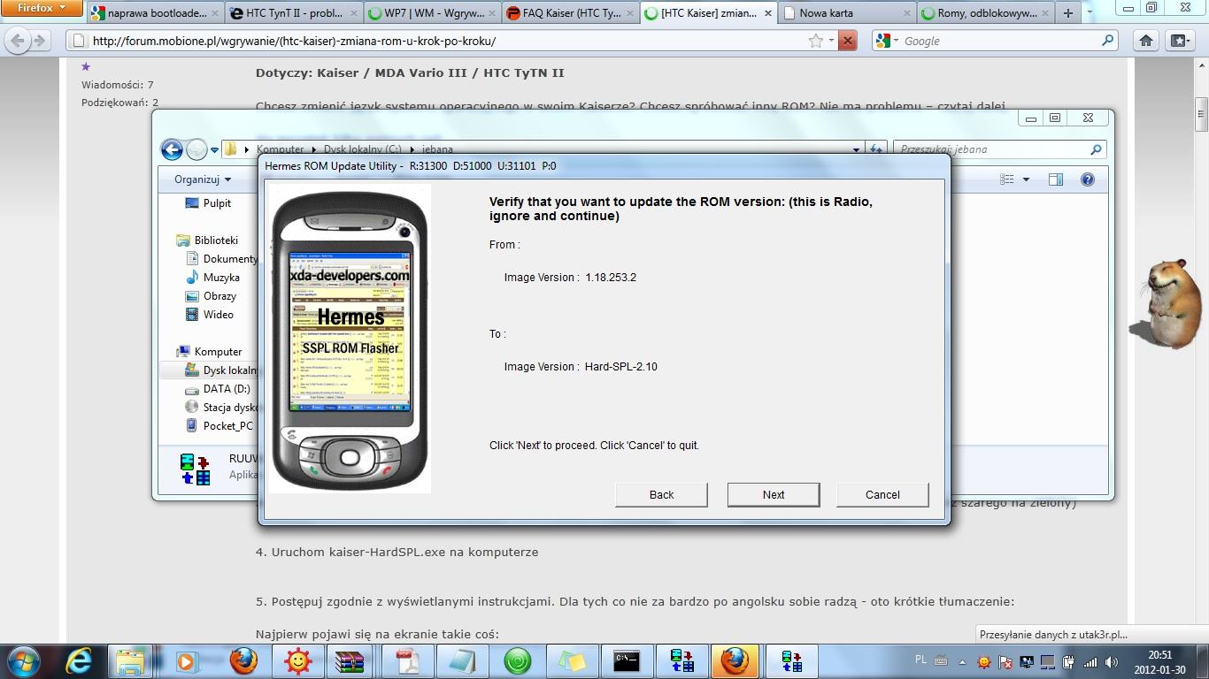 HTC Hermes - problem z wgraniem ROMU.
