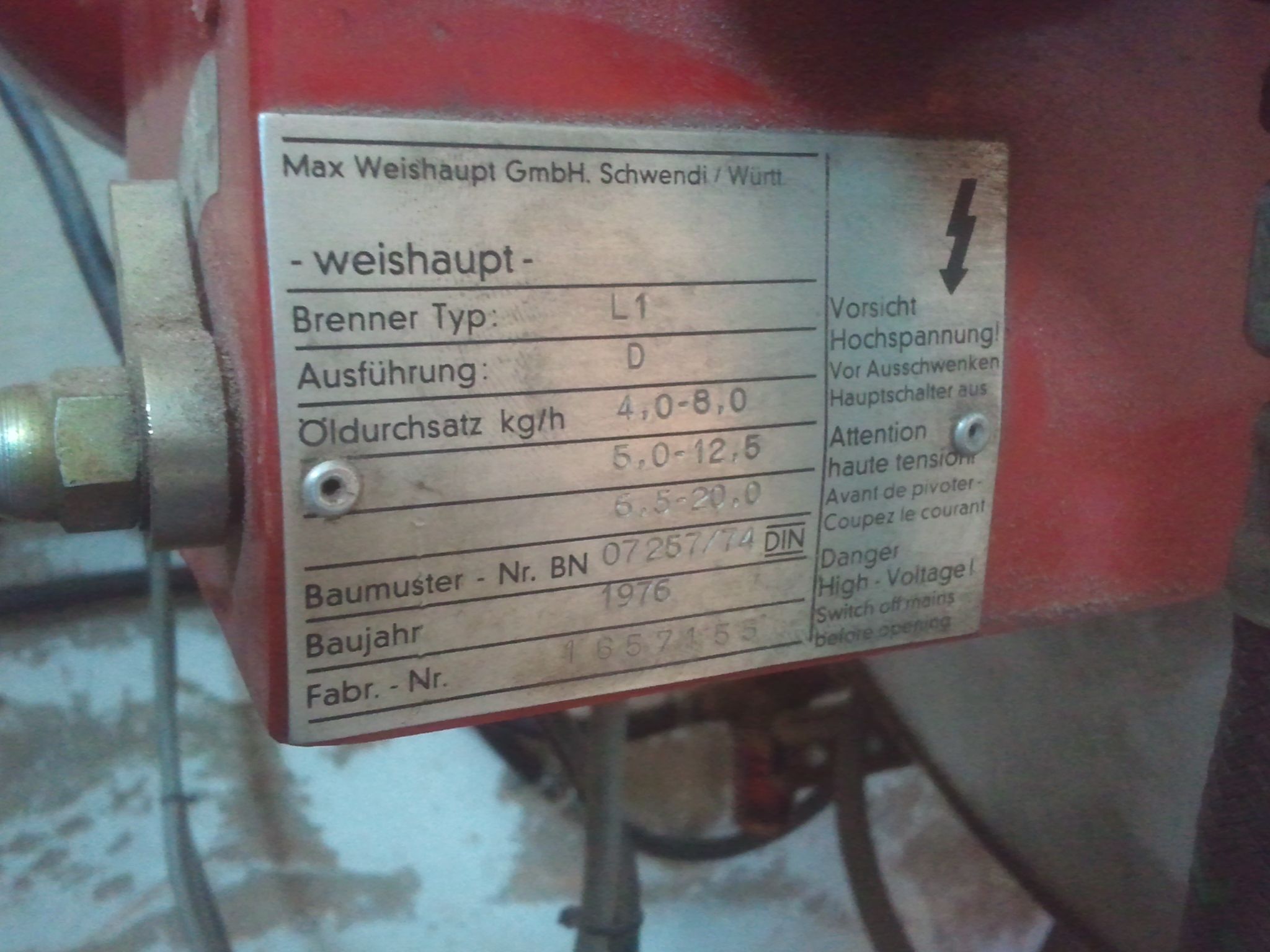 Schemat elektrycznego pod�aczenia starszego palnika olejowego weishaupt