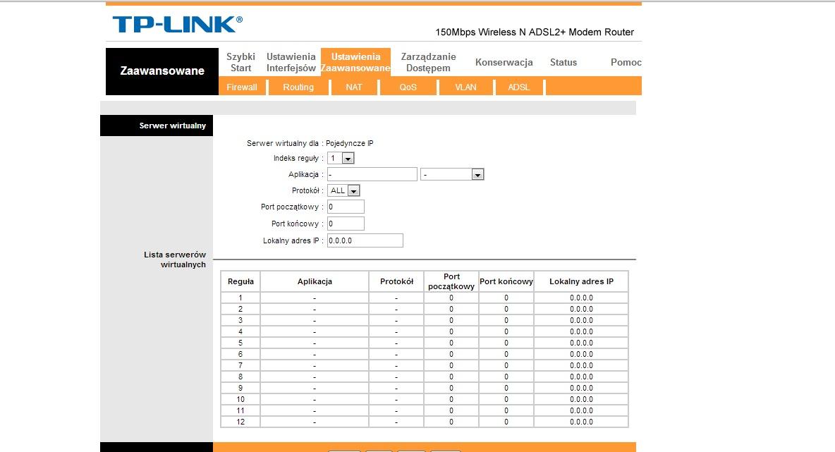 TP-LINK TD-W8951ND - Nie mo�na odblokowa� port�w