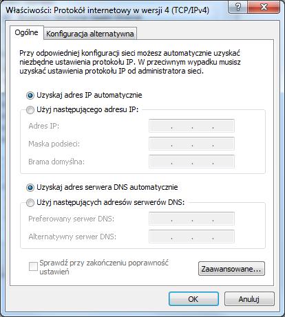 Nie działająca sieć w systemie Windows 7.