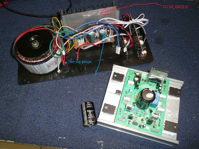 Ibiza SUB18A - Pali kondensator we wzmacniaczu