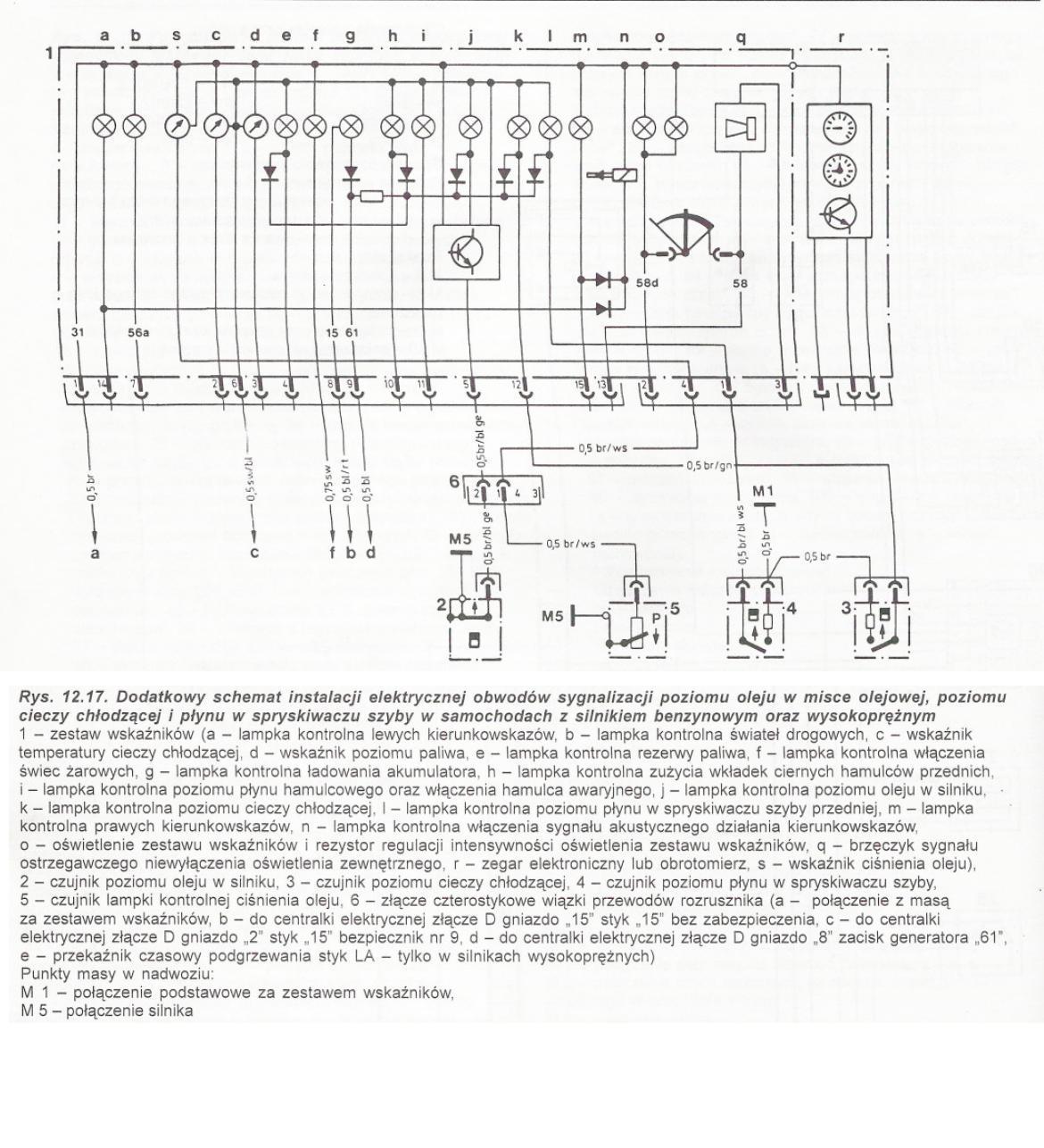 mercedes w201  -  rozpiska 15 pinowej kostki przy liczniku