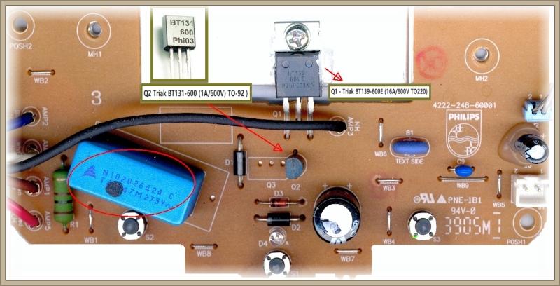Philips Senseo HD 7810 - zaznaczony element Q2 na foto został wyłamany