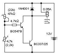 Włącznik przekaźnika sterowany termistorem - schemat