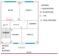 Dom jednorodzinny - rozmieszczenie czujek + ROPAM - do oceny