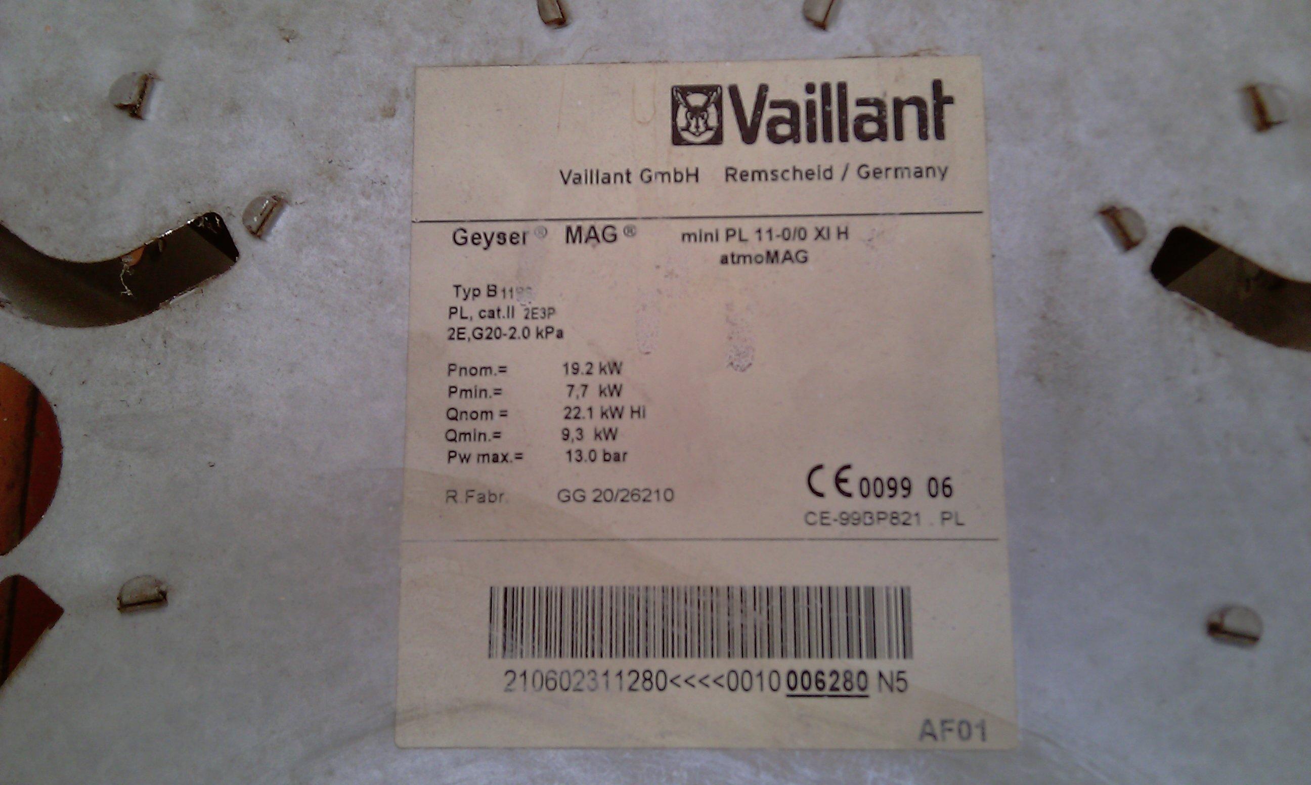 Vaillant atmoMAG 11-0/0 XI H - Jak wyregulowa� membran�