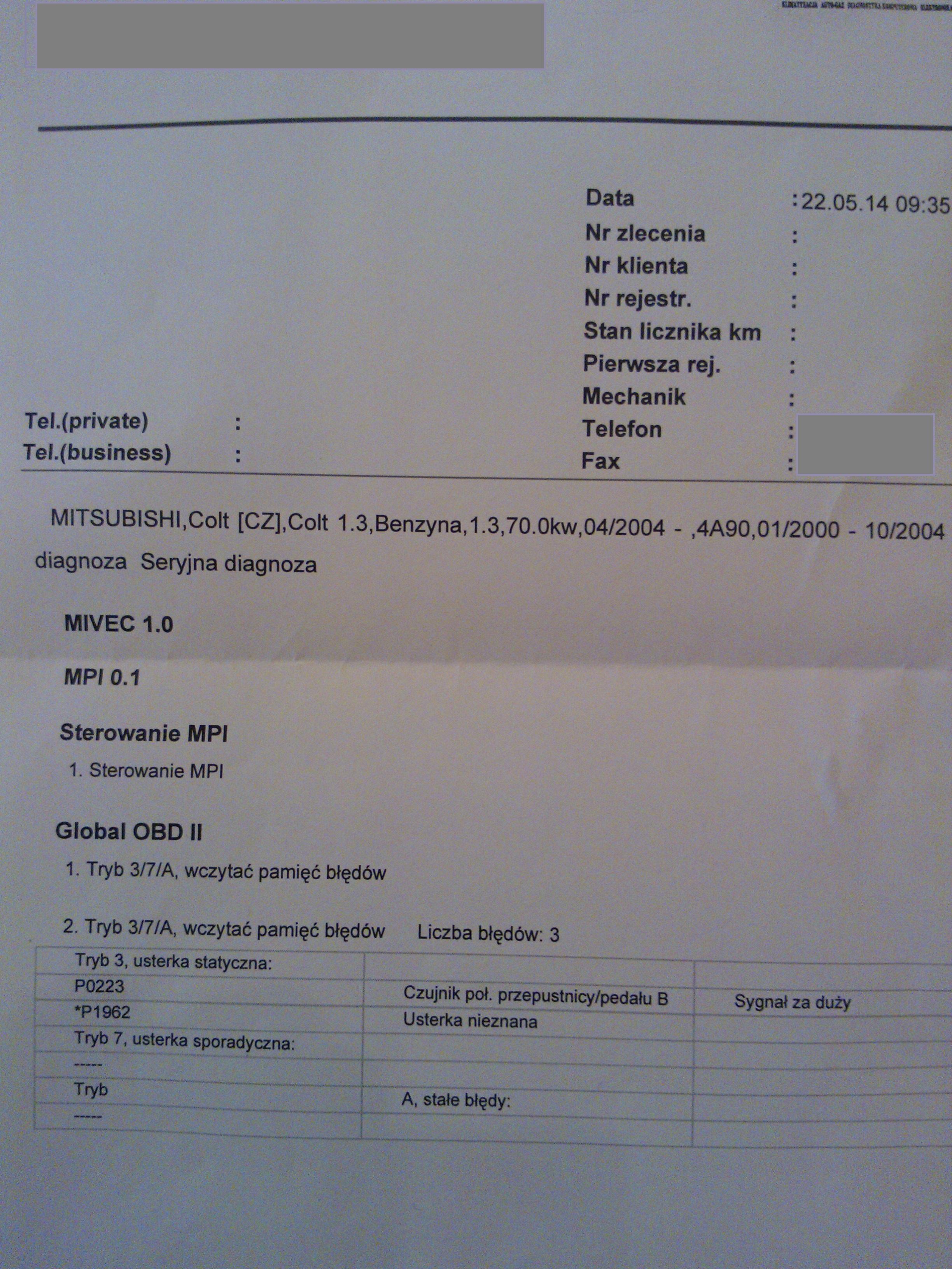 Mitsubishi Colt 1,3 2004 - Opisy b��d�w z diagnostyki