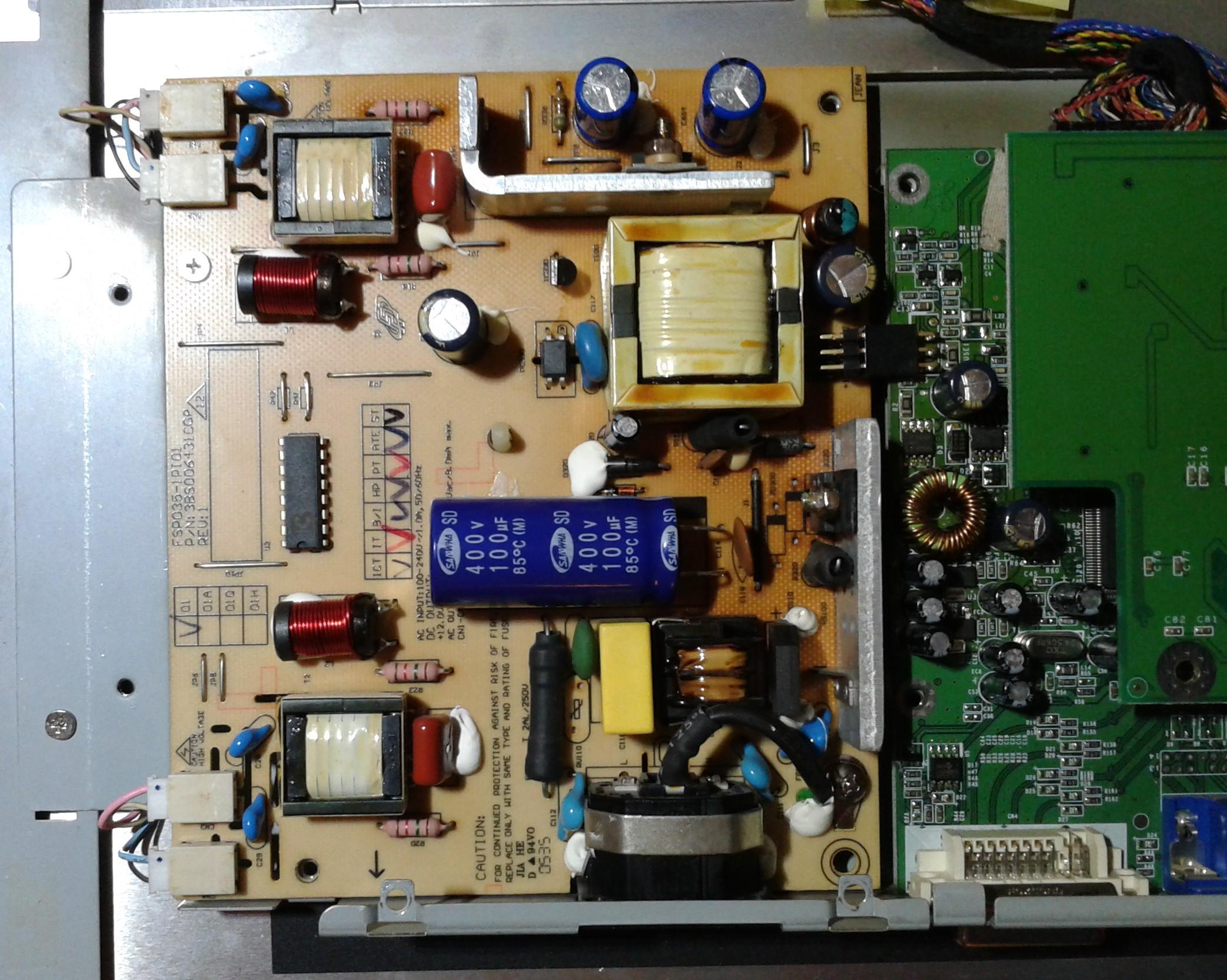Viewsonic VX910 - Uszkodzone tranzystory na p�ytce zasilacza