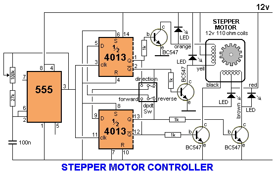 Stepper Motor Controller With 555