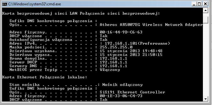 Fujitsu/V5555/laptop - Internet dzia�a tylko po LAN, brak po WiFi
