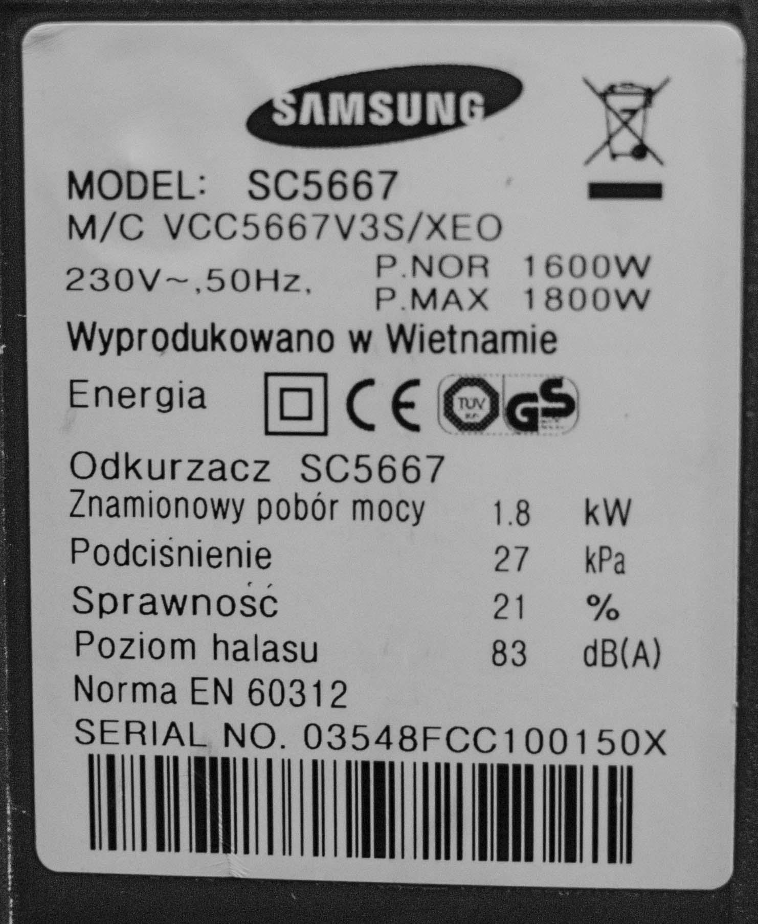 Samsung SC5667 - G�o�ny silnik odkurzacza. Wycie okurzacza