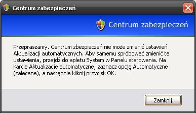 brak aktualizacji automatycznych, podejrzenie wirusa