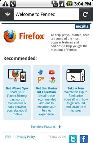 Firefox dla Android pod nazwą Fennec